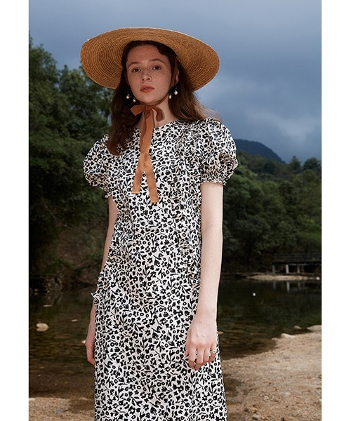【Fano Studios】【2021SS】black and white modern floral dress FX21L180
