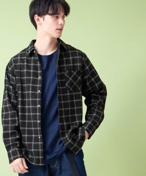 フリースボンディング オーバーサイズ L/S ヘビーフランネルシャツ