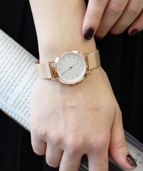 Three Four Time(スリーフォータイム)の「メッシュメタル(アナログ腕時計)」|ピンクゴールド