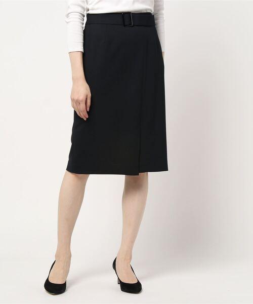 WHITE JOOLA(ホワイトジョーラ)の「2WAYストレッチオックス?ベルト付きラップ風スカート(裏付き)手洗い可(スーツスカート)」|ブラック