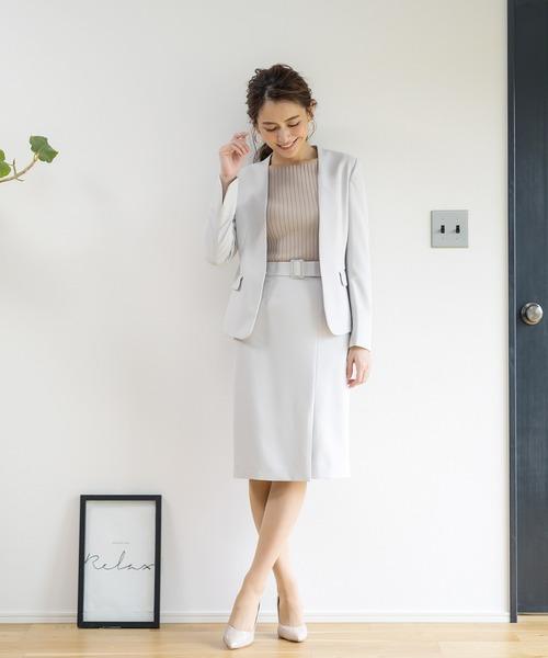 WHITE JOOLA(ホワイトジョーラ)の「2WAYストレッチオックス?ベルト付きラップ風スカート(裏付き)手洗い可(スーツスカート)」|ライトグレー