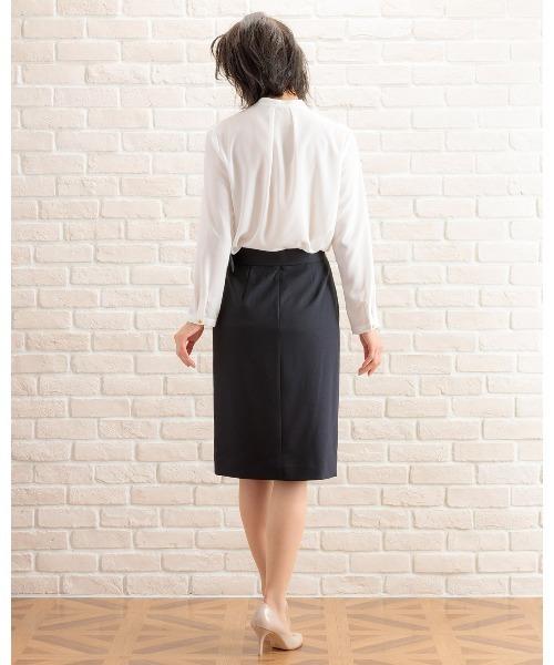 WHITE JOOLA(ホワイトジョーラ)の「2WAYストレッチオックス?ベルト付きラップ風スカート(裏付き)手洗い可(スーツスカート)」 詳細画像