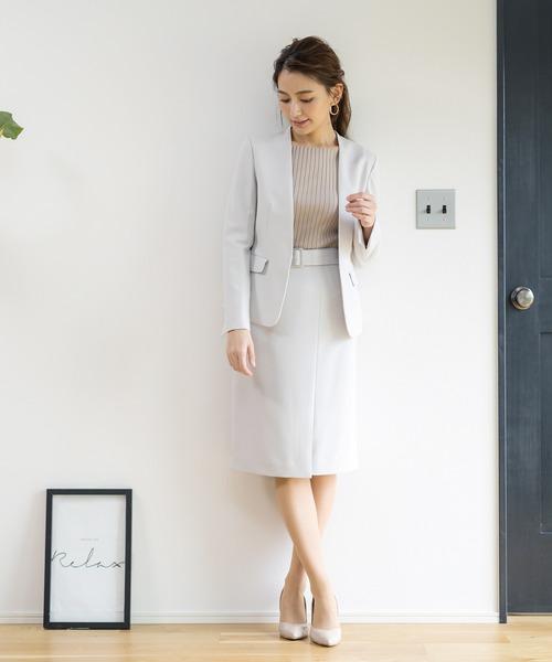 WHITE JOOLA(ホワイトジョーラ)の「2WAYストレッチオックス?ベルト付きラップ風スカート(裏付き)手洗い可(スーツスカート)」|詳細画像
