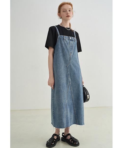 【Fano Studios】【2021SS】waistband design suspender denim skirt FX21L197