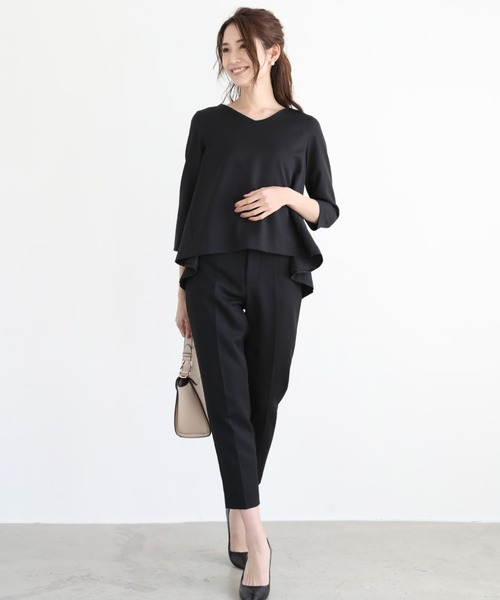 DRESS LAB(ドレスラボ)の「ベルト付フレアトップスセットアップパンツスーツ【3点セット】(セットアップ)」|ブラック