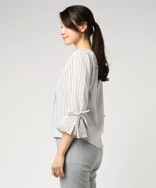 エムエフエディトリアルレディース/m.f.editorial:Women  白場ストライプ柄キャンディースリーブ7分袖プルオーバーシャツ