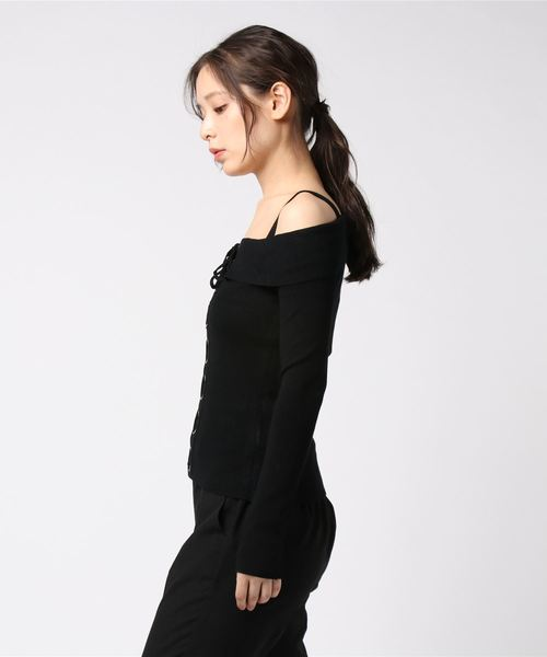 ALY LACE-UP RIBBED SWEATER