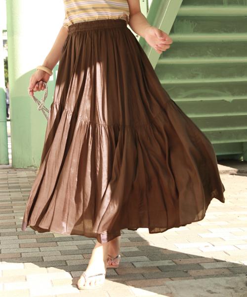 BAYFLOW(ベイフロー)の「キリカエマキシスカート(スカート)」|ブラウン
