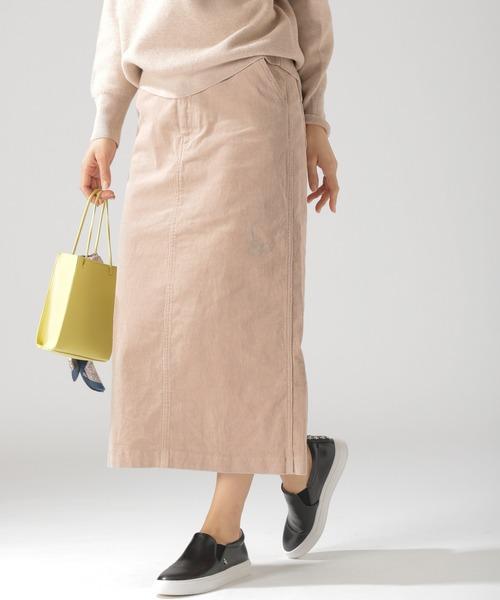 BAYFLOW(ベイフロー)の「コーデュロイタイトスカート(スカート)」|ベージュ