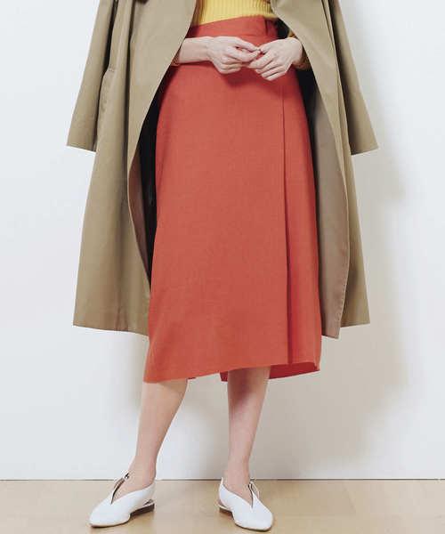 HELIOPOLE(エリオポール)の「マットクロスタックストレートスカート(スカート)」|コーラル