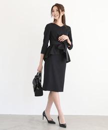 DRESS LAB(ドレスラボ)のフレア トップス セットアップ スカート スーツ ベルト付【3点セット】結婚式 ブラックフォーマル 喪服(セットアップ)