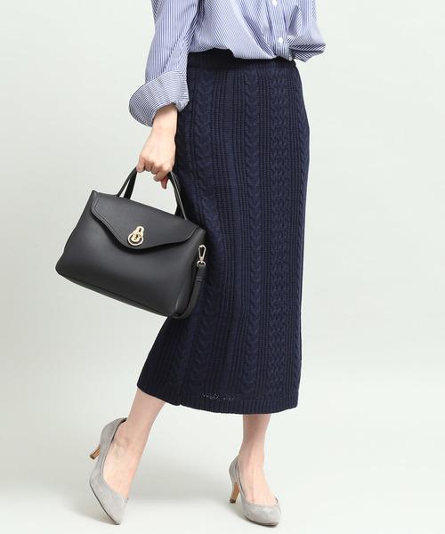 ViS(ビス)の「【WEB限定】ケーブルニットロングスカート(スカート)」 ネイビー