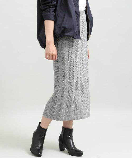 ViS(ビス)の「【WEB限定】ケーブルニットロングスカート(スカート)」|グレー