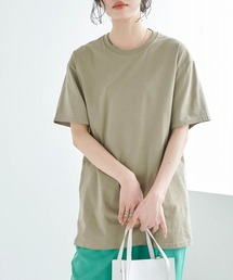【FRUIT OF THE LOOM】レディース フルーツオブザルーム オーバーサイズ クルーネック 半袖 Tシャツカーキ