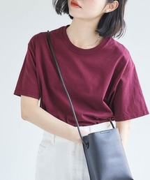 【FRUIT OF THE LOOM】レディース フルーツオブザルーム オーバーサイズ クルーネック 半袖 Tシャツマルーン