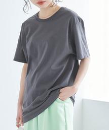【FRUIT OF THE LOOM】レディース フルーツオブザルーム オーバーサイズ クルーネック 半袖 Tシャツチャコール