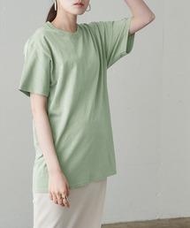 【FRUIT OF THE LOOM】レディース フルーツオブザルーム オーバーサイズ クルーネック 半袖 Tシャツセージグリーン