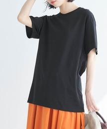 【FRUIT OF THE LOOM】レディース フルーツオブザルーム オーバーサイズ クルーネック 半袖 Tシャツブラック