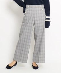Dessin(デッサン)の【Sサイズ 洗える】ボタンポケットチェックワイドパンツ(パンツ)