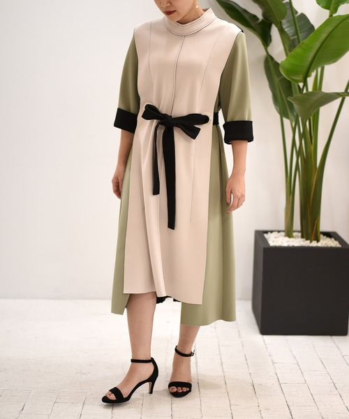 【Eimee Law】ボンディング配色ドレス
