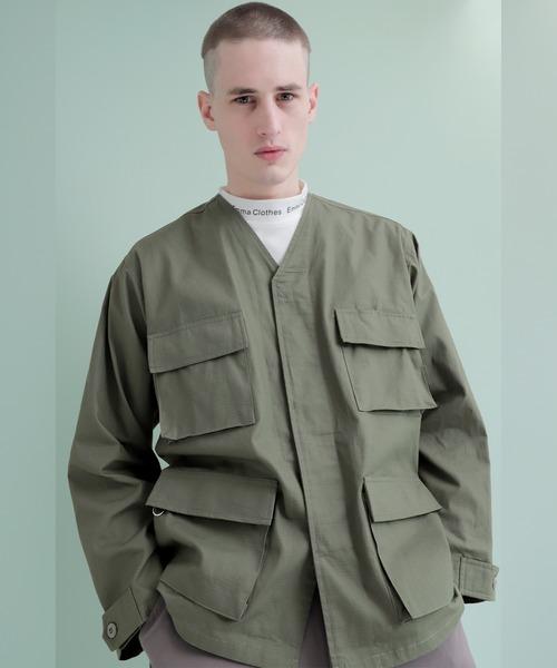 コットンツイル地 マルチポケット ノーカラーミリタリーシャツジャケット