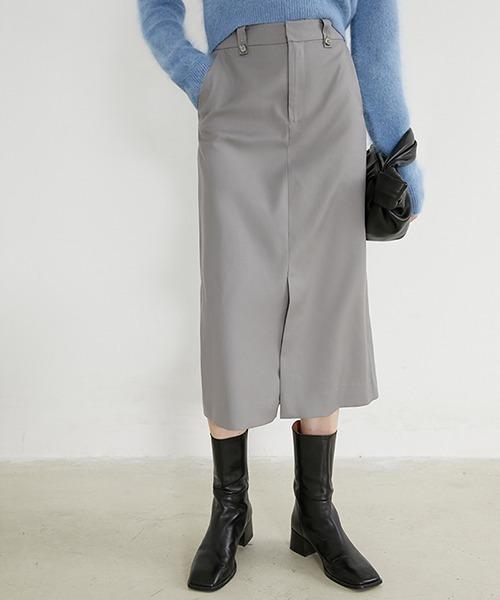 【Fano Studios】【2021SS】Semi-long front slit skirt FD20B002