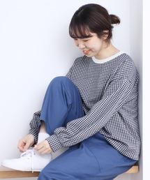 PAR ICI(パーリッシィ)のギンガムジャガード ボリューム袖カットソー(Tシャツ/カットソー)