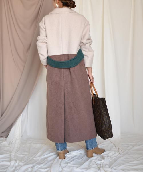【Eimee Law】ピークドラペルバック配色ロングコート