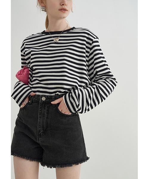 【Fano Studios】【2021SS】power shoulder horizontal stripes T-shirt FX21S273