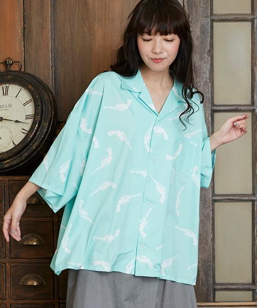 unrelaxing(アンリラクシング)の「ビッグシルエット柄アロハシャツ オーバーサイズ総柄開襟シャツ オープンカラーシャツ(シャツ/ブラウス)」 ミント