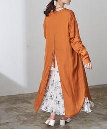 バンドカラーバックスリットロングシャツワンピースオレンジ