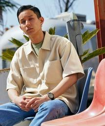 スタプレオーバーサイズ半袖ワークシャツベージュ
