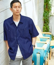 スタプレオーバーサイズ半袖ワークシャツネイビー