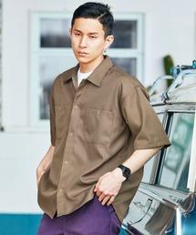 スタプレオーバーサイズ半袖ワークシャツブラウン