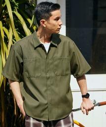 スタプレオーバーサイズ半袖ワークシャツカーキ
