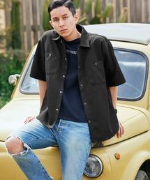 スタプレオーバーサイズ半袖ワークシャツブラック