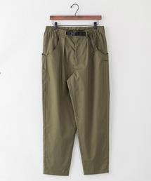 【着るバッグシリーズ】7ポケットイージーパンツ スリムシルエット 同色ワンポイントブランドロゴ ウエストEASY使用オリーブ