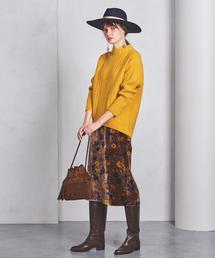 UWSC プリントギャザー ベルベットスカート ◆