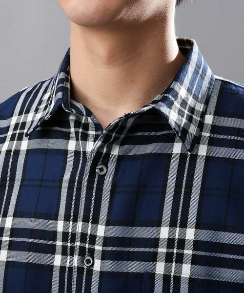 ビッグシルエットチェック柄長袖シャツ
