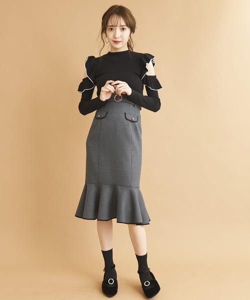 バイカラーパイピングマーメイドスカート/マーメイドスカート