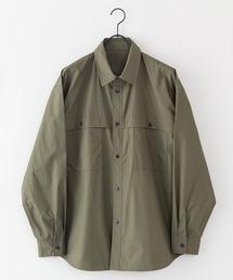 【着るバッグシリーズ】7ポケット多収納シャツ 長袖 同色ワンポイントブランドロゴ 内側ポケットB5収納可オリーブ