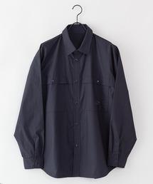 【着るバッグシリーズ】7ポケット多収納シャツ 長袖 同色ワンポイントブランドロゴ 内側ポケットB5収納可ブラック
