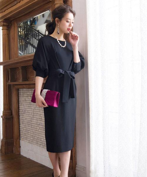 RUIRUE BOUTIQUE(ルイルエブティック)の「ロング&リーンシルエットが美しいバルーンスリーブワンピース/結婚式・お呼ばれ・二次会・同窓会・成人式対応フォーマルパーティードレス(ドレス)」 ブラック