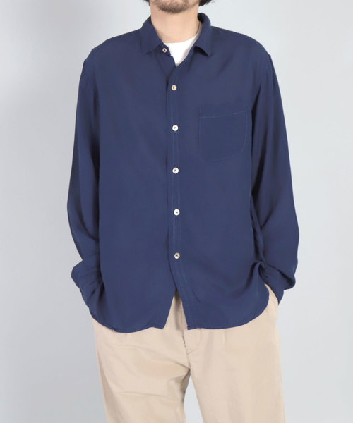 [OMNIGOD / オムニゴッド] レーヨンキュプラシルクエットスプレッドカラーシャツ