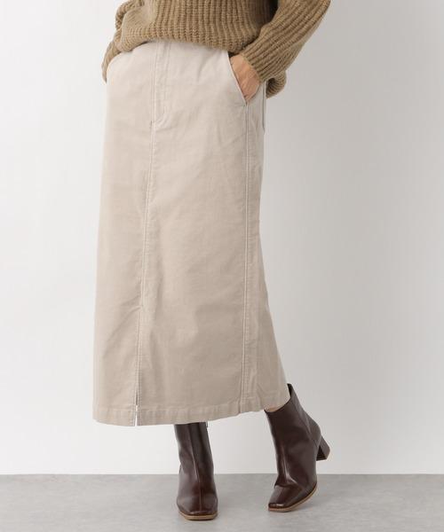 LEPSIM(レプシィム)の「ストレッチコーデュロイナロースカート 888701(スカート)」 グレイッシュベージュ