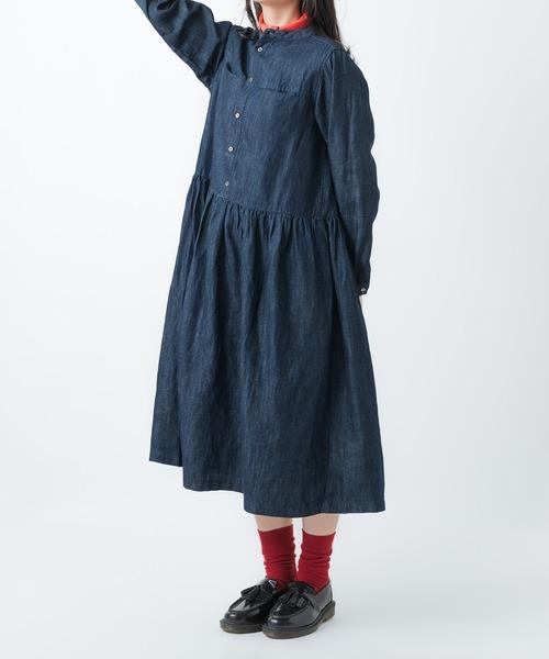 【 ubasoku / ウバソク 】 バンドカラーウエストギャザーワンピース ub-0145 BNT・・