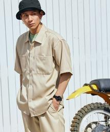 【セットアップ】スタプレオーバーサイズ半袖ワークシャツ&ワイドテーパードイージーパンツベージュ