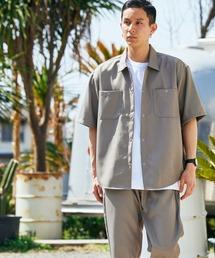 【セットアップ】スタプレオーバーサイズ半袖ワークシャツ&ワイドテーパードイージーパンツベージュ系その他