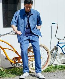 【セットアップ】スタプレオーバーサイズ半袖ワークシャツ&ワイドテーパードイージーパンツブルー系その他