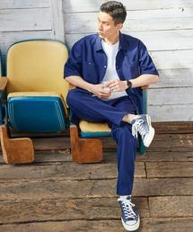 【セットアップ】スタプレオーバーサイズ半袖ワークシャツ&ワイドテーパードイージーパンツネイビー